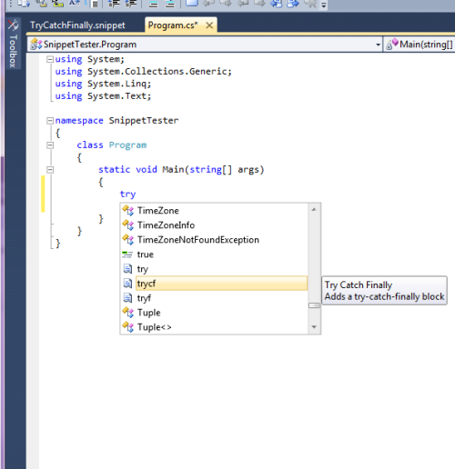 Intellisense after typing snippet name